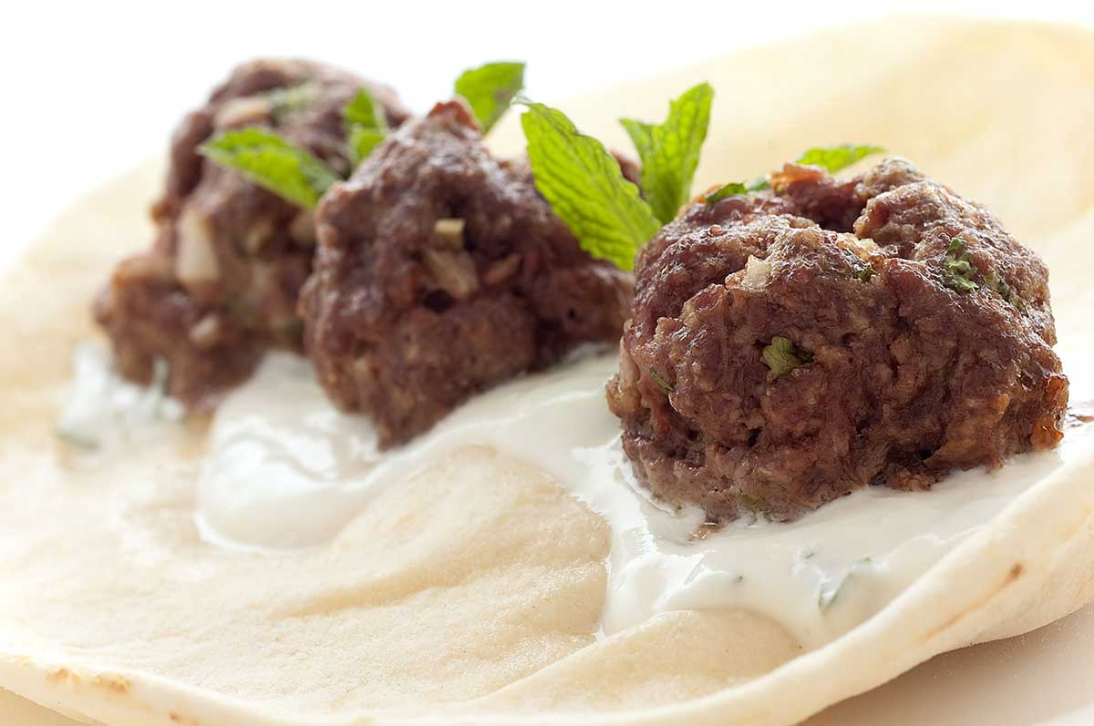 Lamb Meatball Gyro with Mint Yogurt Sauce