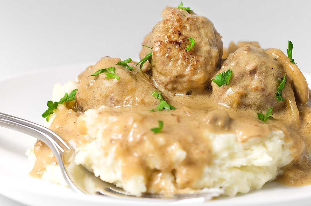 Meatballs in Mushroom Cream Sauce