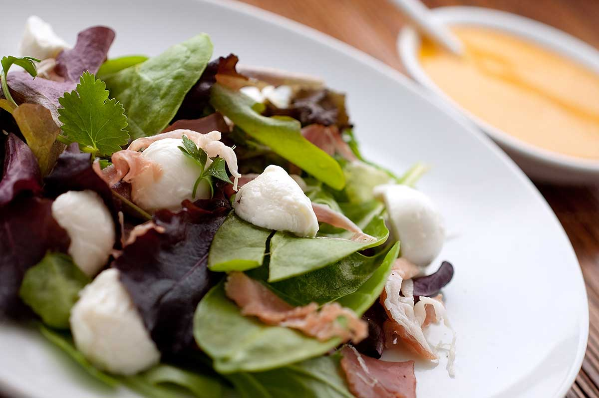 Mozzarella and Prosciutto Salad with Tomato Vinaigrette