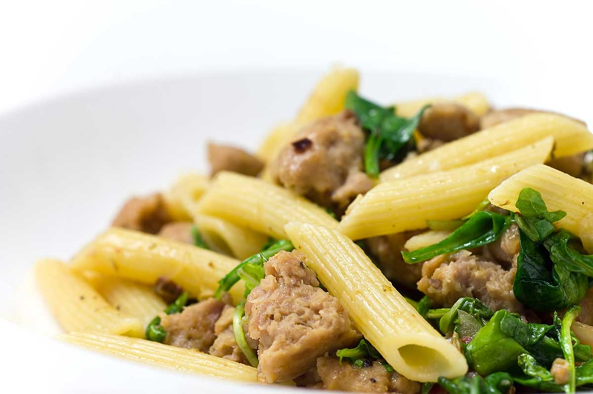 Penne with Sausage, Spinach and Arugula