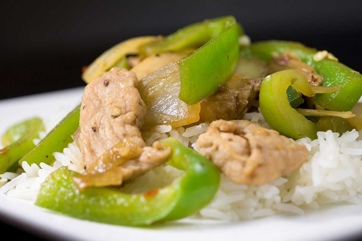 Pork Stir Fry with Peppers and Mushrooms