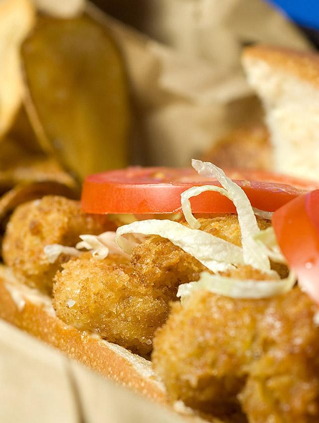 Cajun Popcorn Shrimp Sandwich
