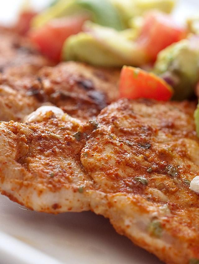 Chili Rubbed Pork with Avocado Salsa