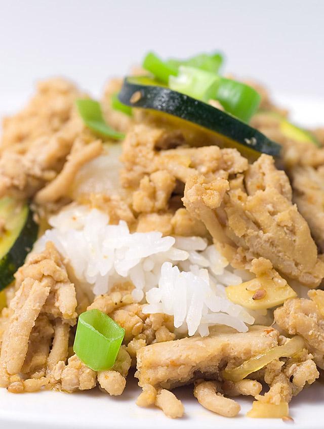 Ground Chicken Teriyaki with Zucchini and Onions