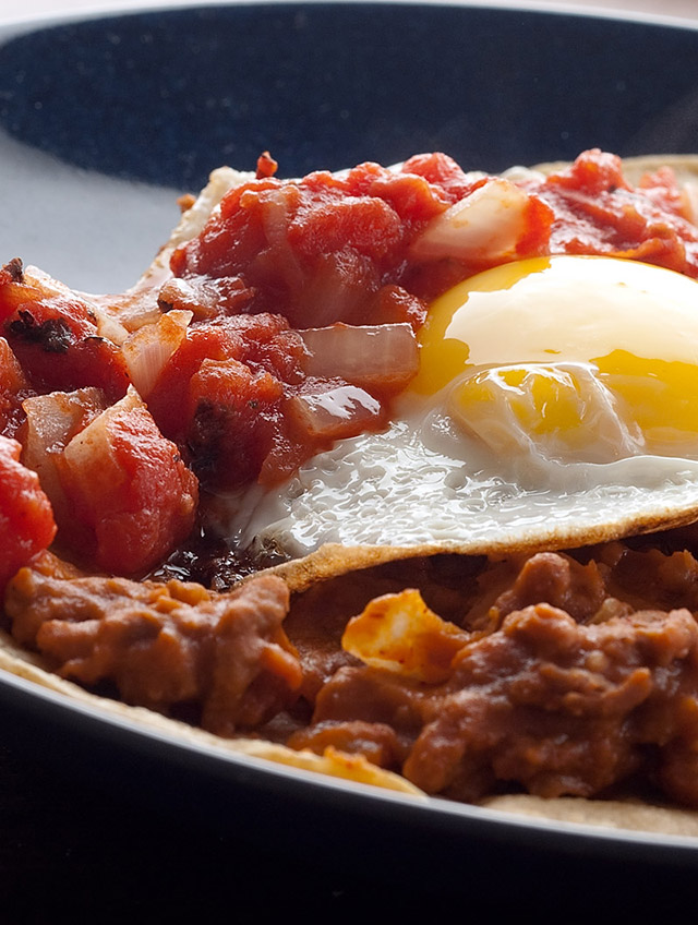 Huevos Rancheros with Chorizo Refried Beans