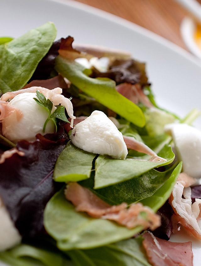 Mozzarella and Prosciutto Salad with Tomato Vinaigrette