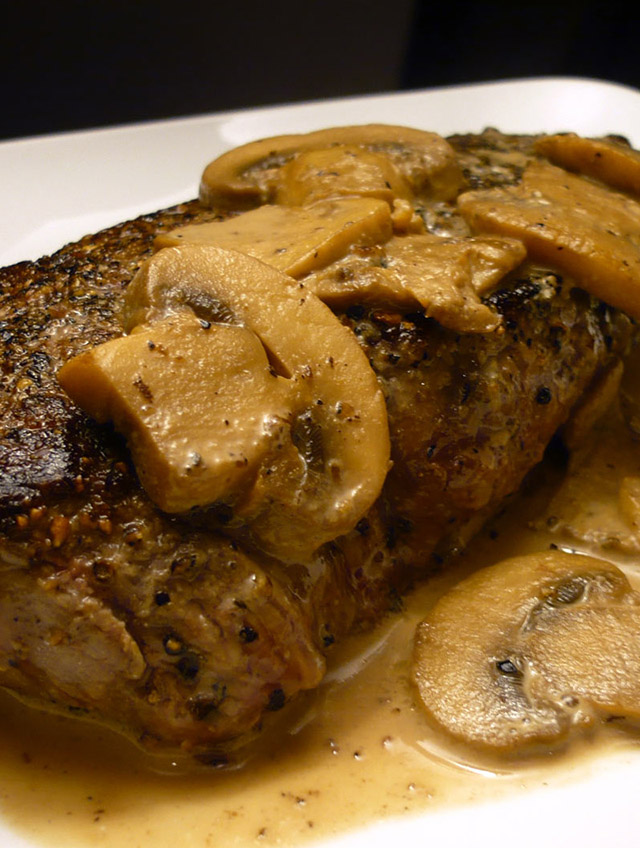 Peppercorn Crusted Top Sirloin with Mushroom Cream Sauce