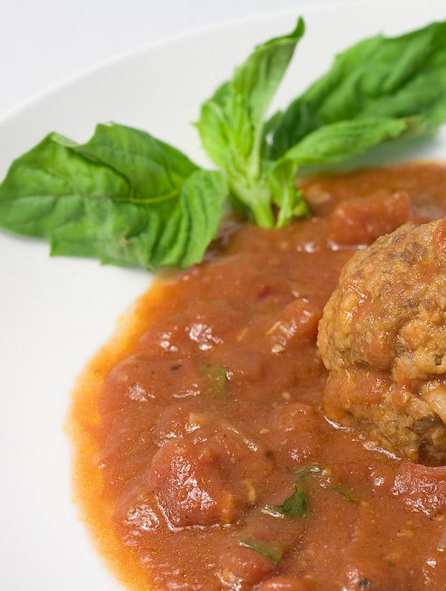 Roasted Garlic and Mozzarella Meatballs with Tomato-Basil Marinara