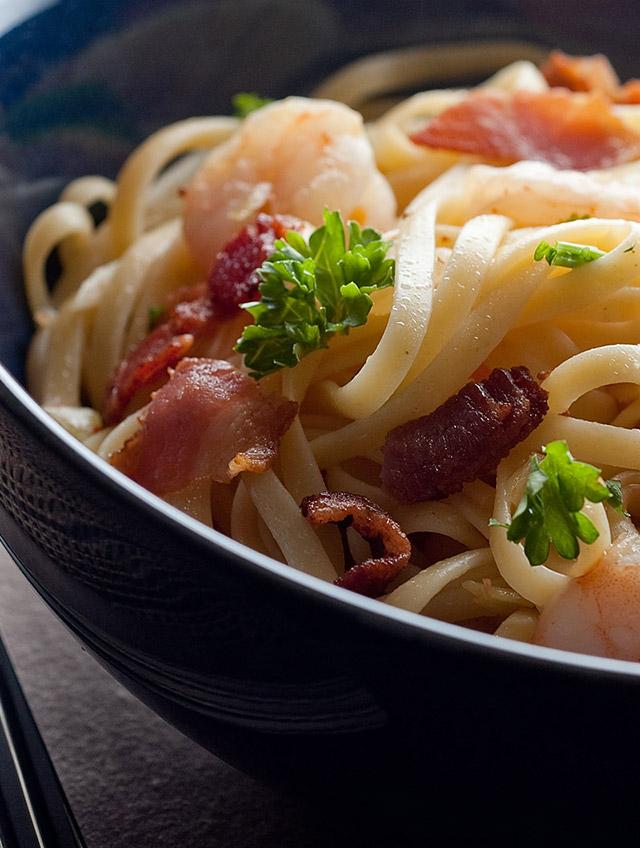 Shrimp and Bacon Linguine