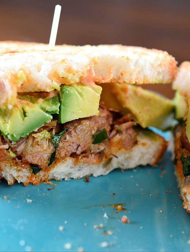 Spiced Pulled Pork and Avocado Sandwich