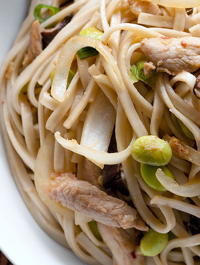 Udon Noodle Stir-fry with Pork and Edamame