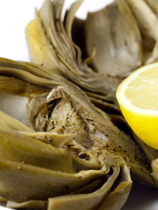 Baked Artichokes with Lemon and Wine