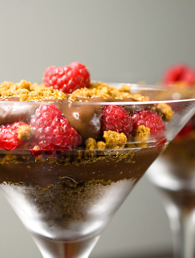 Chocolate Pudding with Raspberries and Gingersnaps