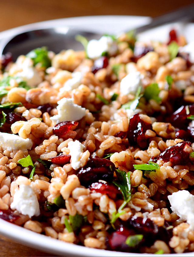 Farro Cranberry and Goat Cheese Salad
