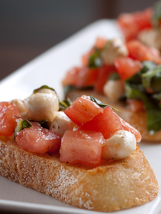 Heirloom Tomato and Mozzarella Bruschetta