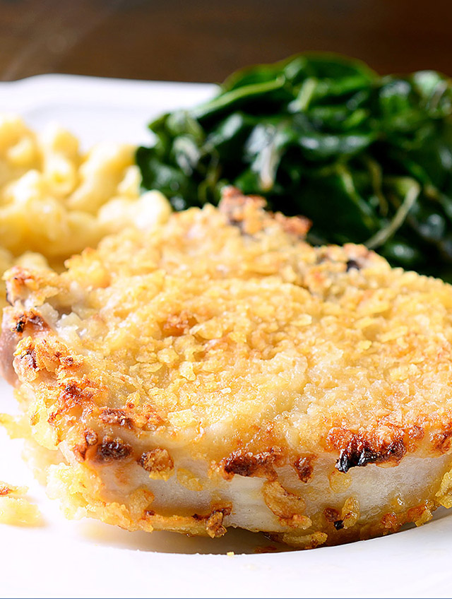 Potato Chip Crusted Pork Chops