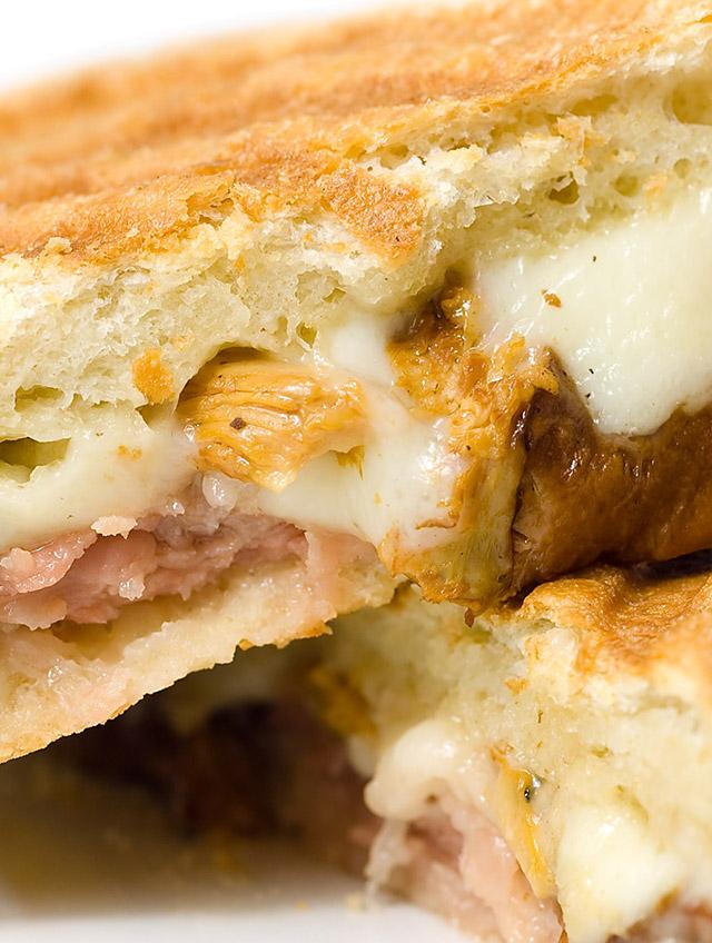 Prosciutto, Chanterelle Mushrooms and Mozzarella Panini