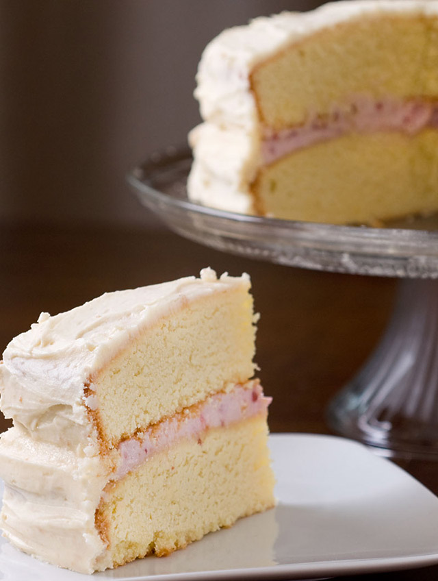 Raspberry Cream Cheese Filled Cake