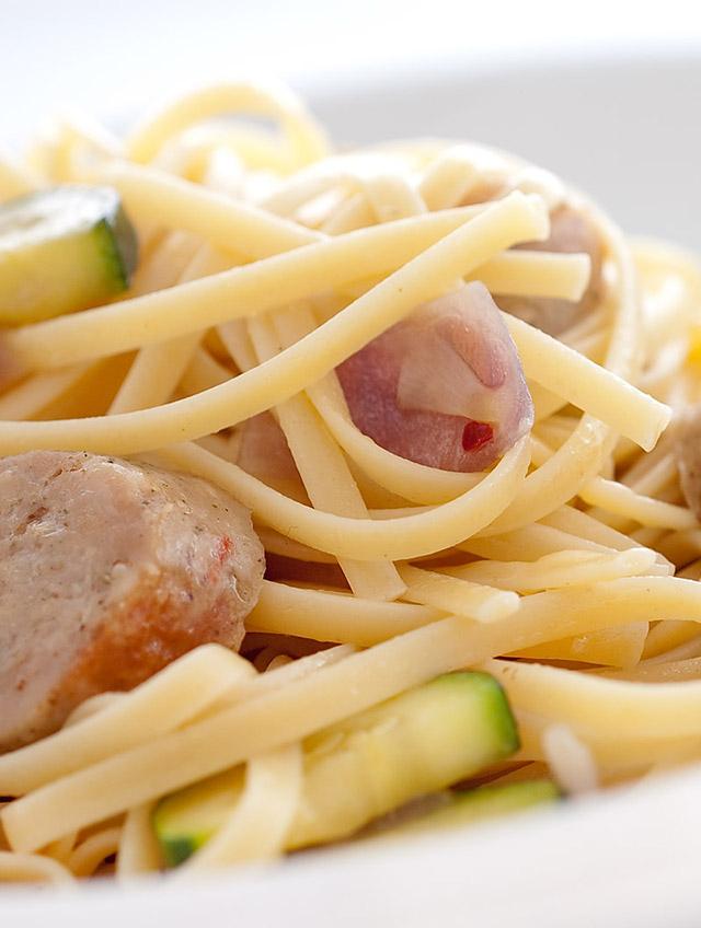 Sausage, Mushroom and Zucchini Pasta