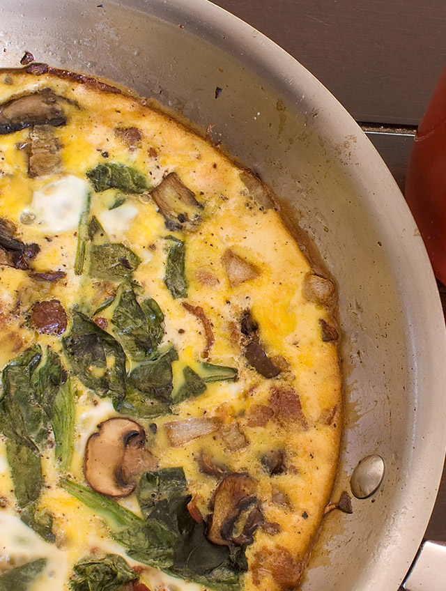 Spinach, Mushroom and Bacon Frittata