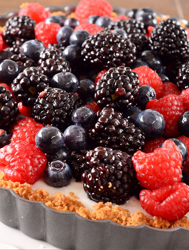 Summer Berry and Coconut Pudding Tart - Life's Ambrosia