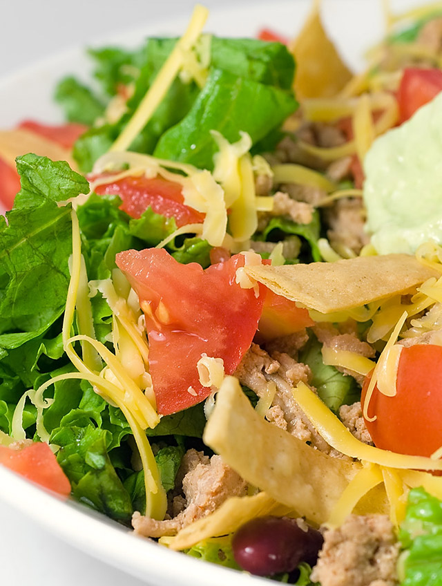 Taco Salad with Spicy Avocado Dressing
