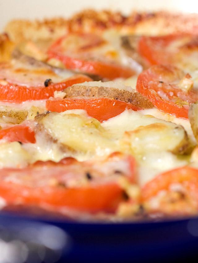 Tomato, Potato and Mozzarella Bake