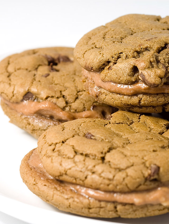 Chocolate Chocolate Chip and Nutella Cream Sandwich Cookies