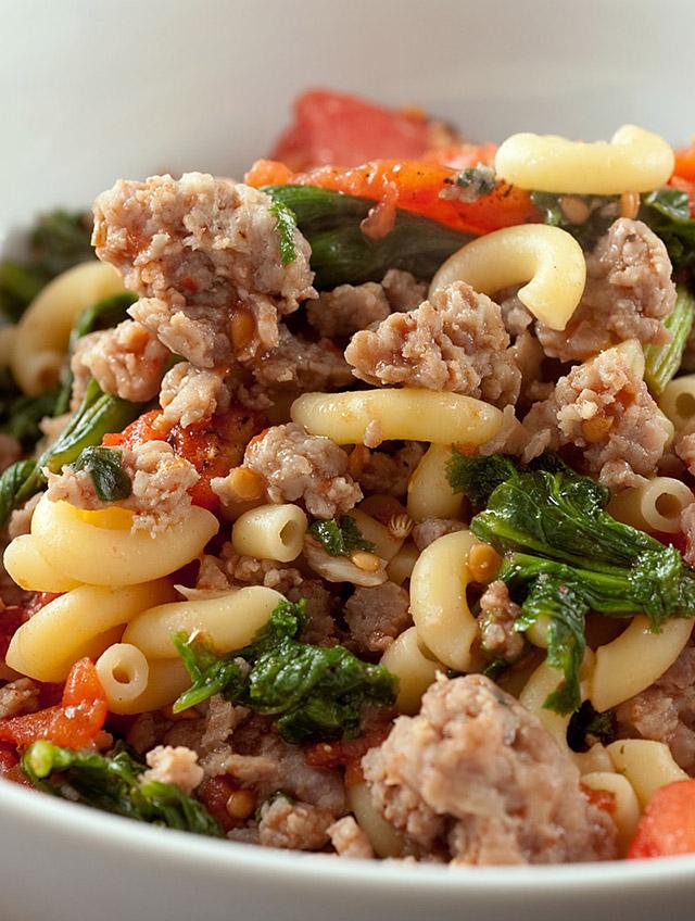 Macaroni with Sausage, Greens and Tomatoes