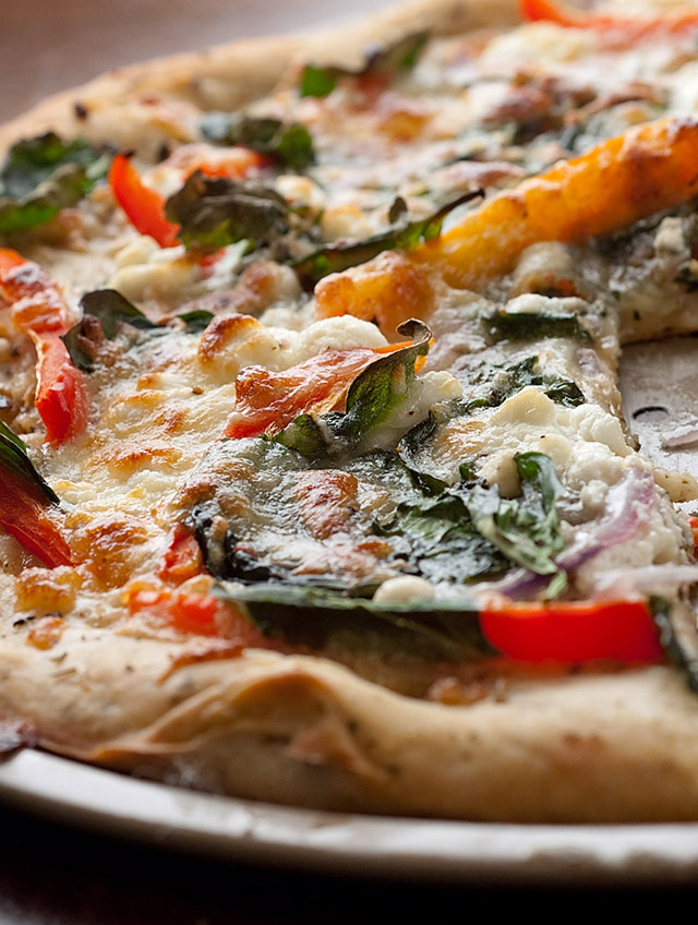 Spinach, Cheese, Onion and Pepper Pizza