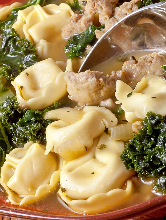 Sausage, Kale and Tortellini Soup