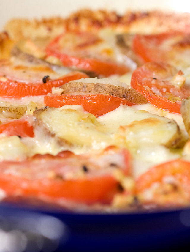 Tomato, Potato and Mozzarella Bake