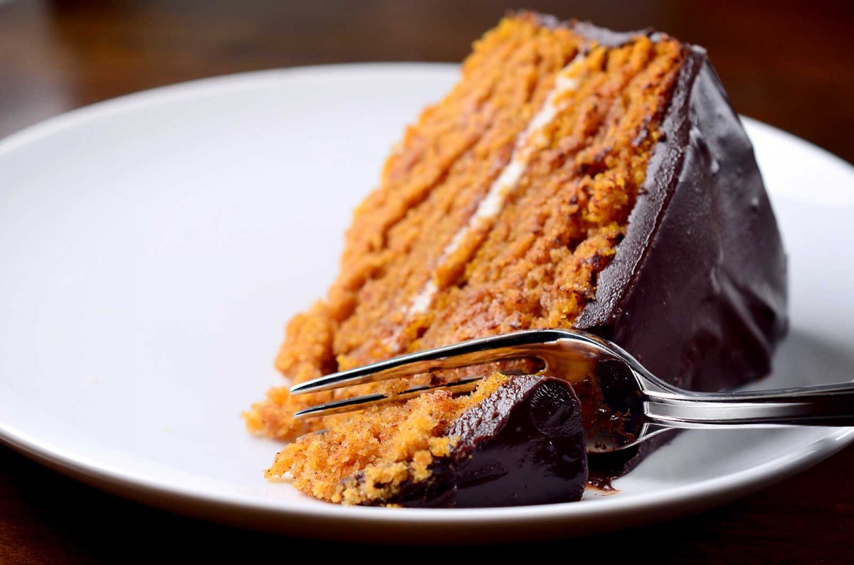 Pumpkin Cake with Chocolate Ganache - Life's Ambrosia