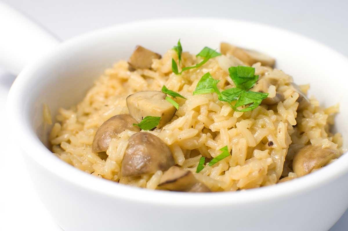 Rice Pilaf with Crimini Mushrooms