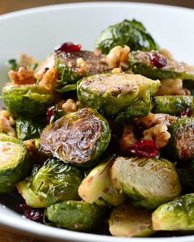 Roasted Brussels Sprouts, Walnuts and Cranberries