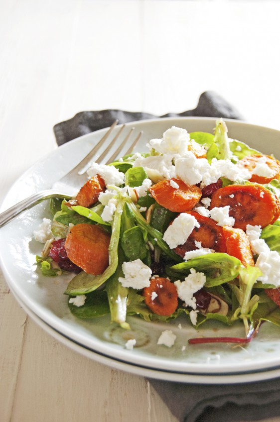 Roasted Carrot Salad with Crumbled Goat Cheese