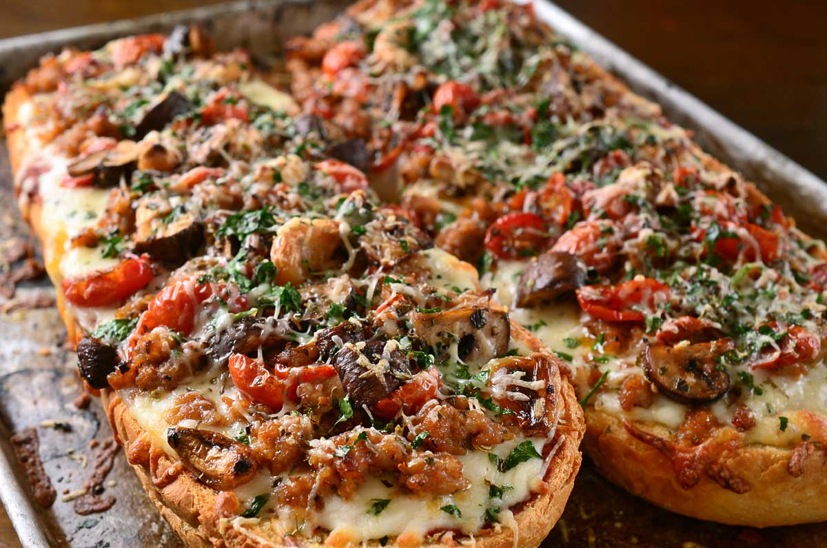 Roasted Veggie and Sausage French Bread Pizza