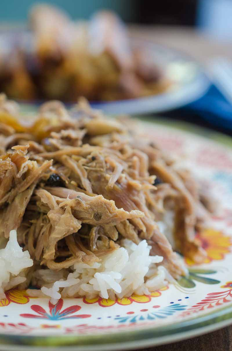 Slow cooker pork adobo is a traditional Filipino dish of pork, soy sauce, vinegar, peppercorns and bay leaves. Cooked to perfection in the slow cooker.