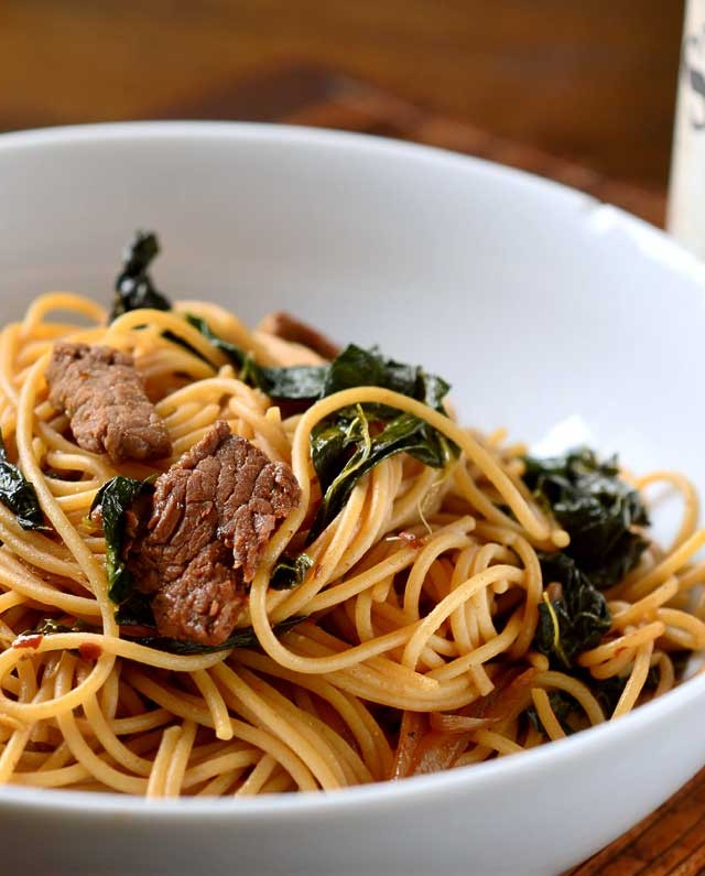 Spicy Beef and Kale Noodles