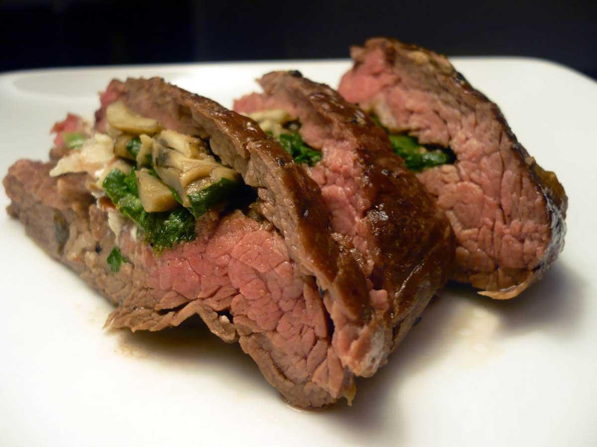 Mushroom and Spinach Stuffed Flank Steak - Life's Ambrosia