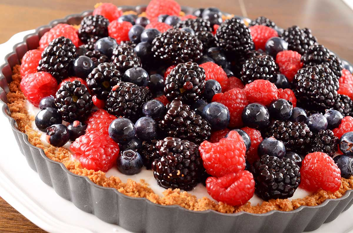 Summer Berry and Coconut Pudding Tart