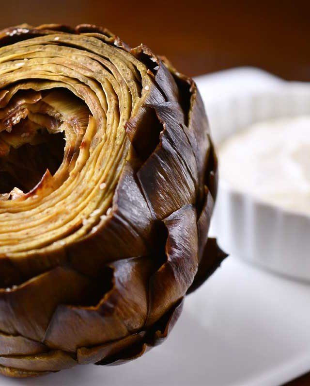 Whole Roasted Artichoke With Roasted Garlic Lemon Dip
