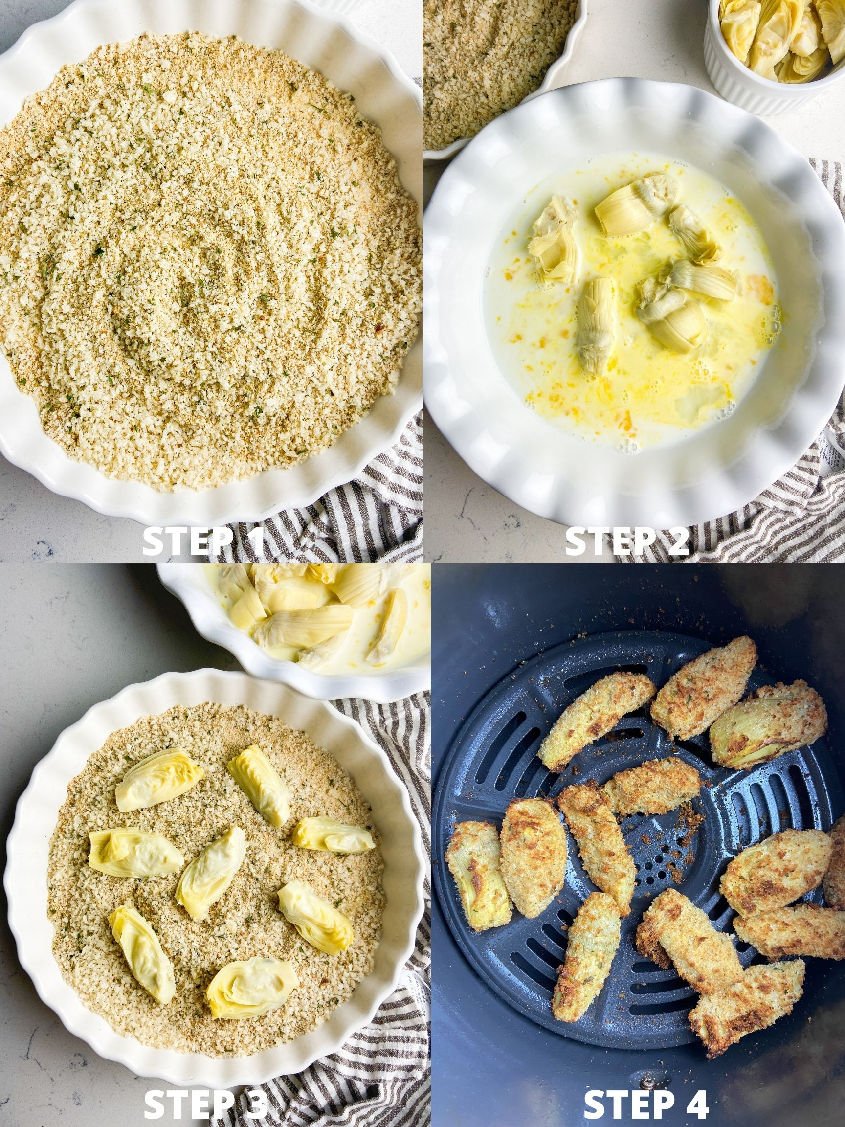 Step by step photos showing how to make air fried artichoke hearts.