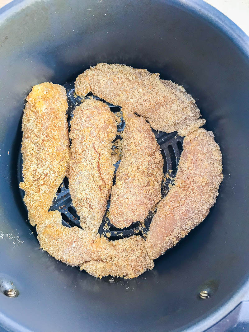 cook chicken tenders in a single layer in an air fryer.