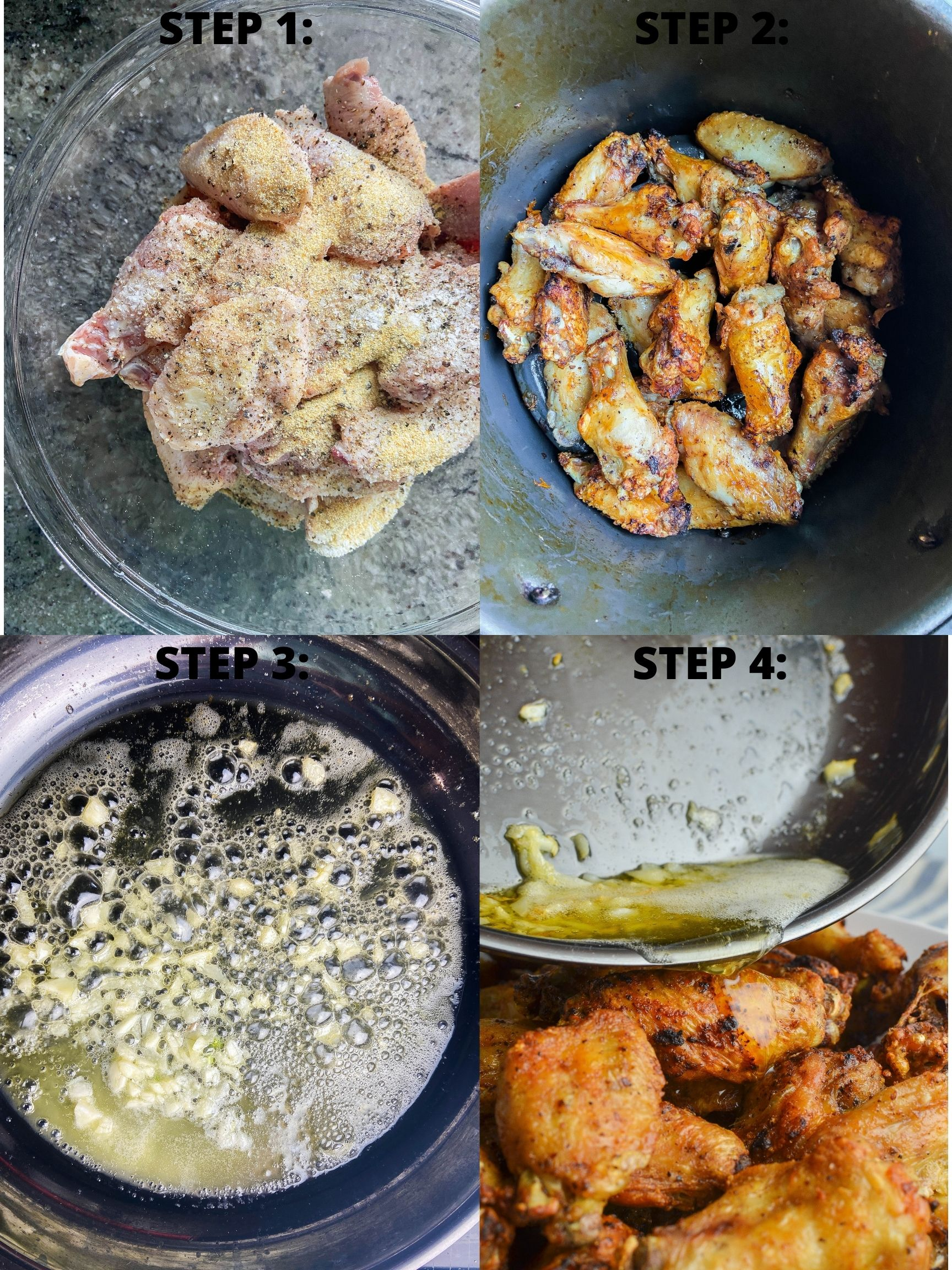 Step by step photo collage of how to make air fried chicken wings.