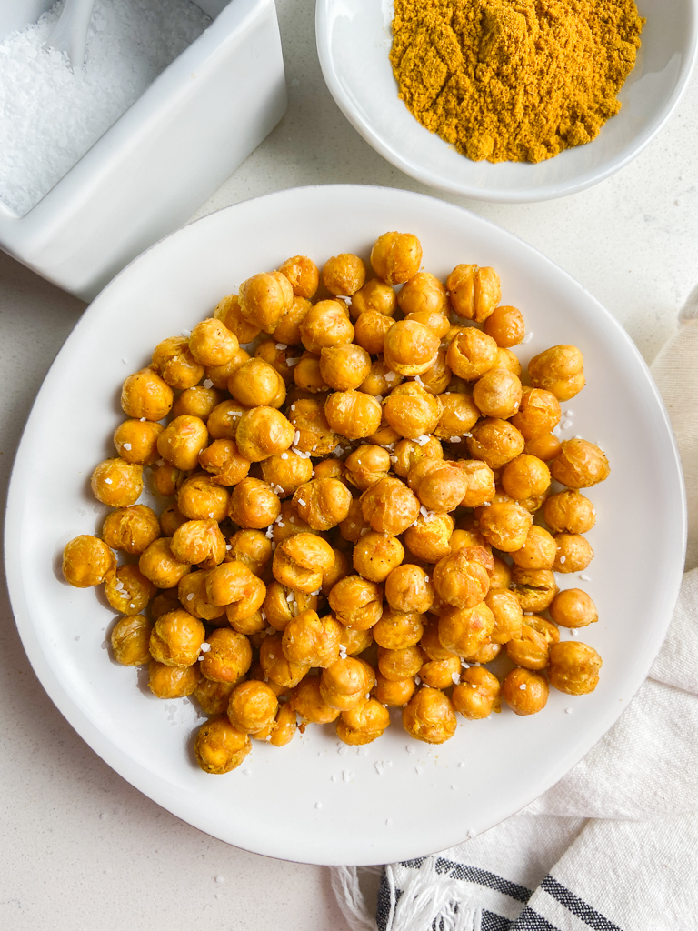 Overhead photo of air fried chickpeas on a white plate.