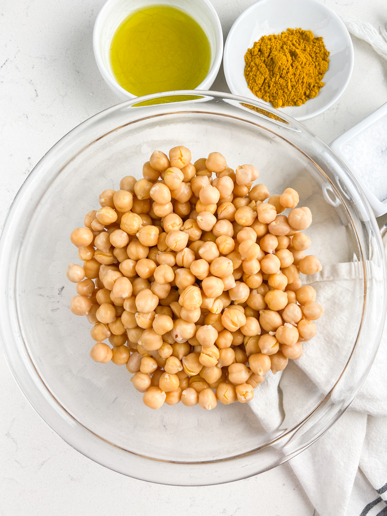 Overhead photo of ingredients needed to make crispy chickpeas in the air fryer.