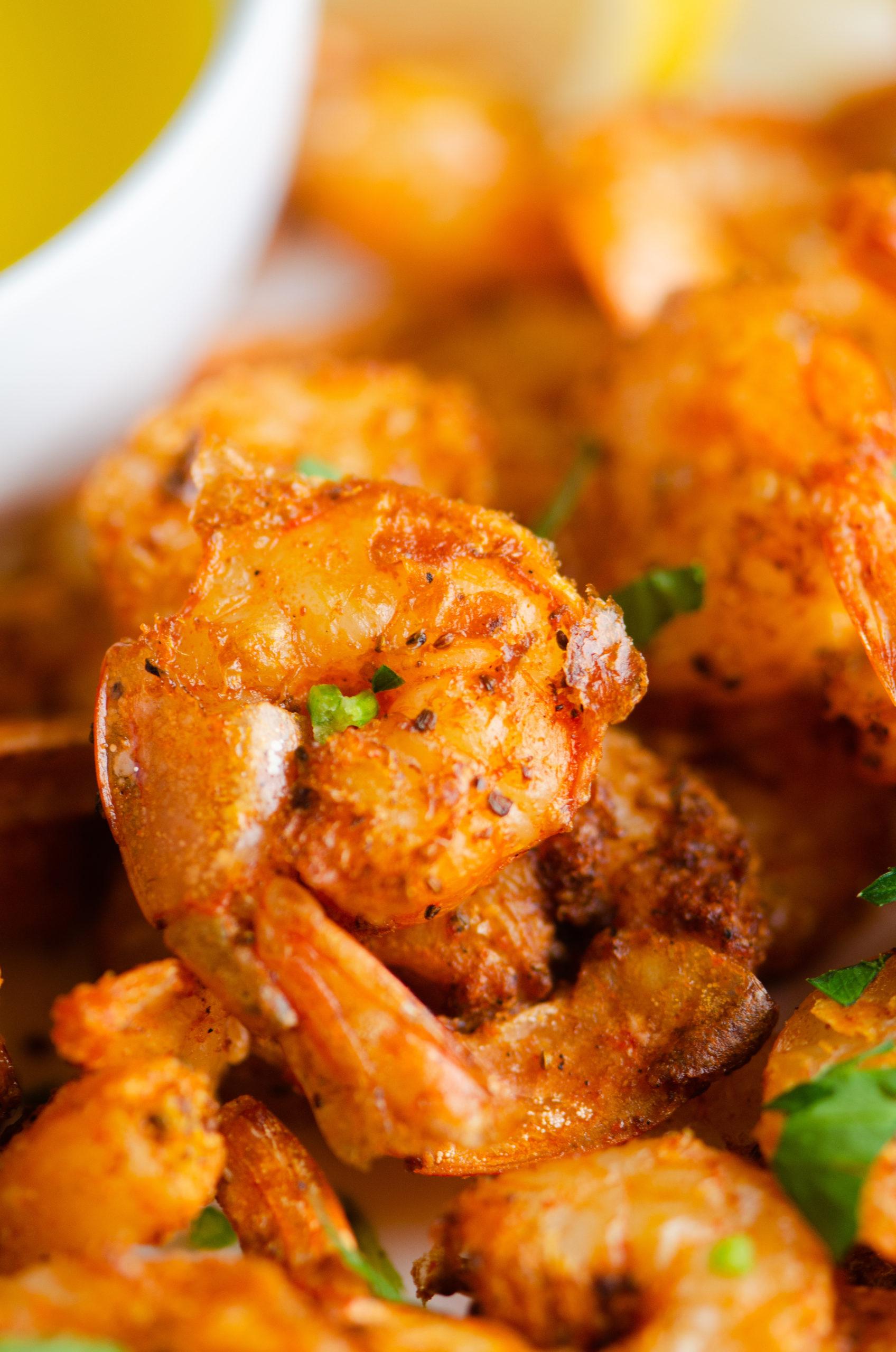 Close up of air fryer fried shrimp.