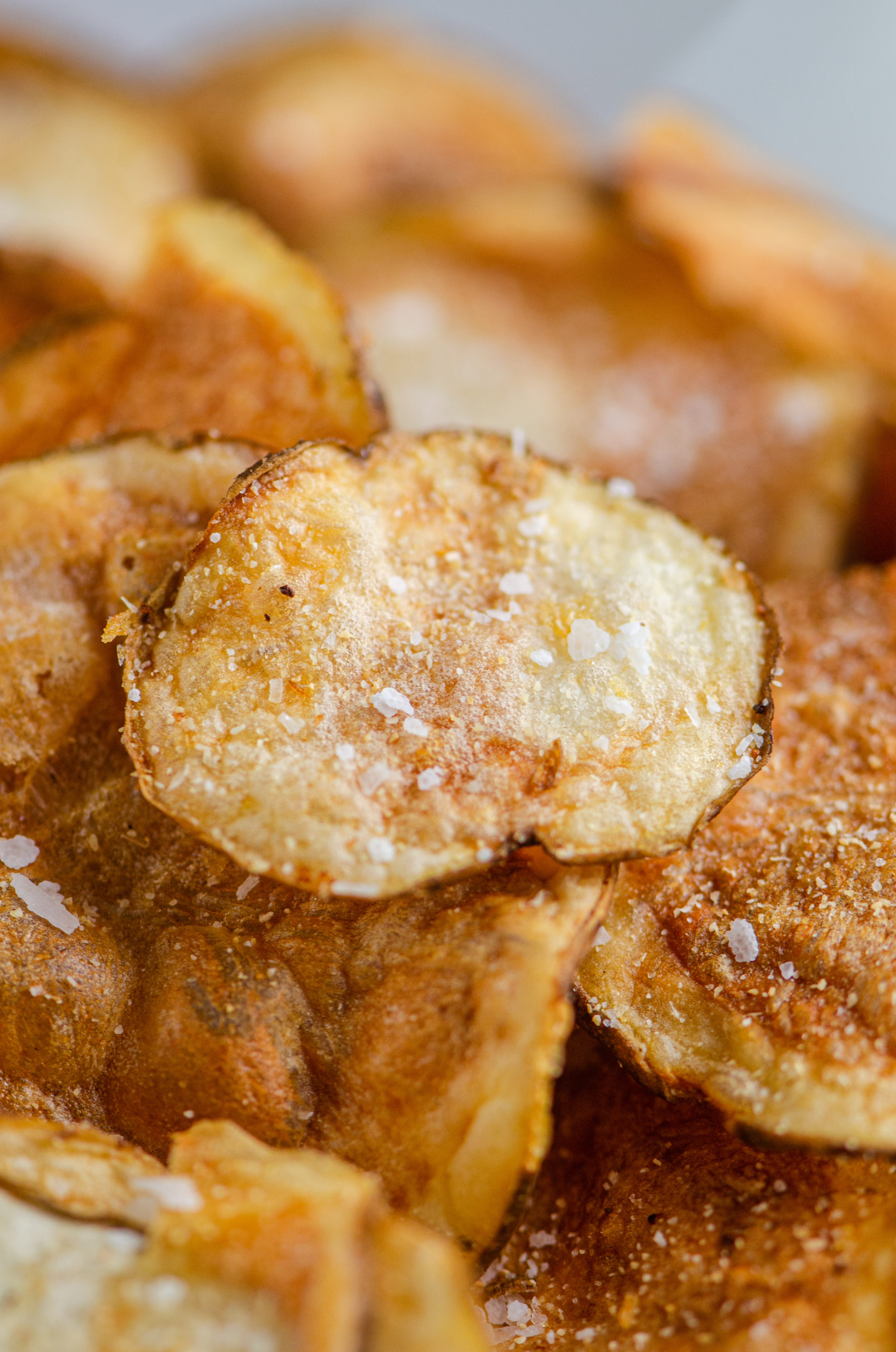 Close up photo of air fried potato chip