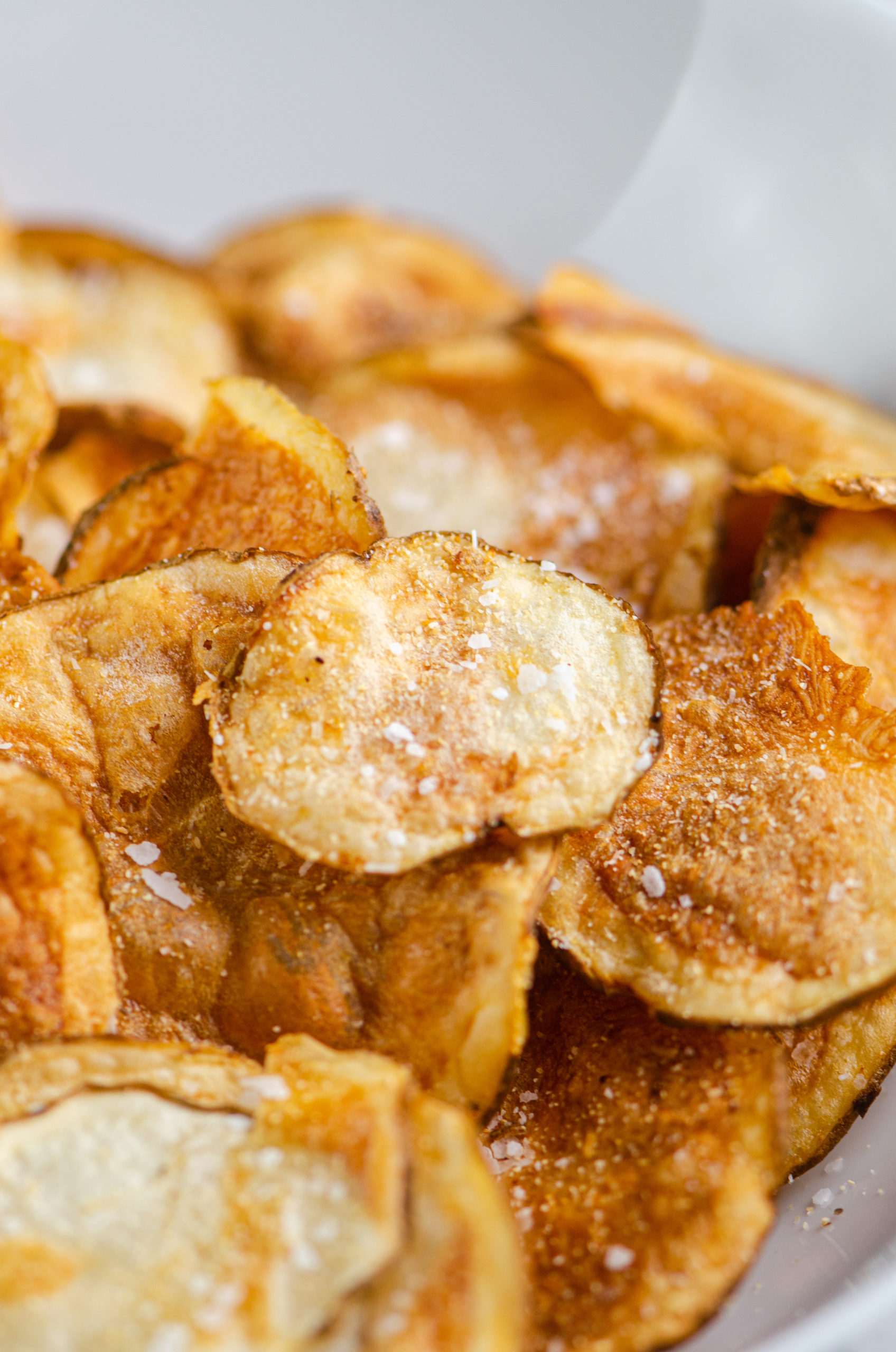 Close up of air fried potato chips